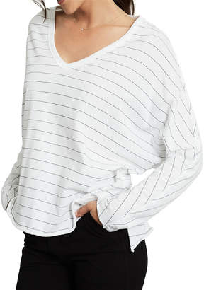 Frank And Eileen Striped V-Neck Long-Sleeve Tee