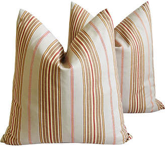 One Kings Lane Vintage French Ticking Stripe Pillows - Set of 2