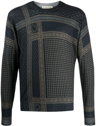Etro pattern-mix crew-neck jumper