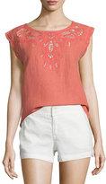 Joie Kinski Embroidered-Eyelet Short-Sleeve Top