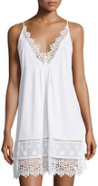 Oscar de la Renta Floral-Embroidered Sleeveless Jersey Chemise, White