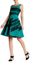 Oscar de la Renta Sleeveless Lace Embellished Sequin Silk Dress