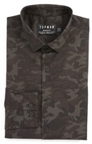 Topman Men's Camo Print Dress Shirt