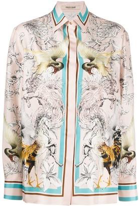 Roberto Cavalli Mythical-Print Silk Shirt