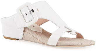 Donald J Pliner Ofelia Snake-Print Buckle Wedge Thong Sandals