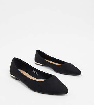New Look suedette pointed flat shoes in black