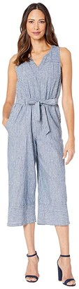 Vince Camuto Sleeveless Ticking Stripe Belted Jumpsuit