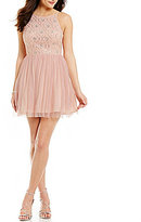 As U Wish High Neck Beaded Bodice Open Back Fit-and-Flare Party Dress
