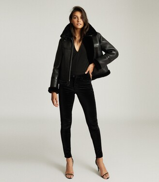 Reiss Margot - Reversible Shearling Aviator Jacket in Black