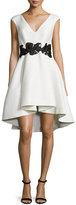 Halston Cap-Sleeve V-Neck Fit & Flare Dress, Eggshell/Black