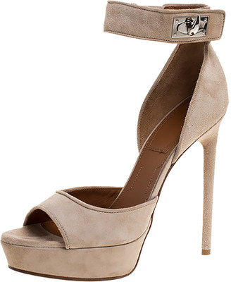 Givenchy Beige Suede Shark Tooth Ankle Strap Open Toe Platform Sandals Size 38