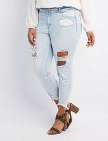 Charlotte Russe Plus Size Refuge Skinny Crochet Destroyed Jeans