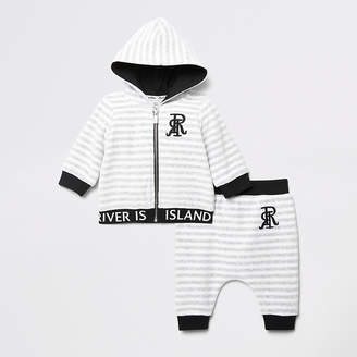 River Island Baby grey stripe RI velour hoodie outfit
