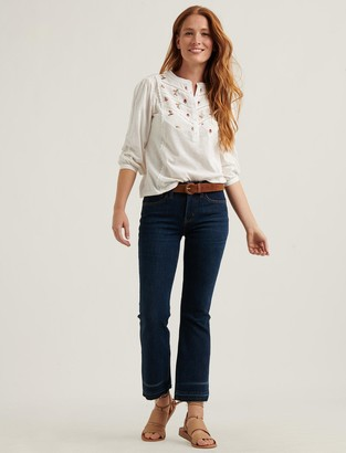 Lucky Brand Embroidered Henley Top
