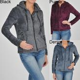 La Cera Women's Plus Size Luxury Plush Heather Fleece Jacket