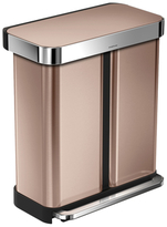 Simplehuman 58L Dual Bucket Recycler Can in Rose Gold with Bonus 60 Pack Liners