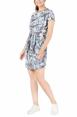 Ideology Womens Blue Tie Dye Short Sleeve Crew Neck Short Shirt Dress Dress Size: XXL