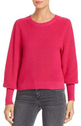 525 America Ribbed Bishop-Sleeve Sweater