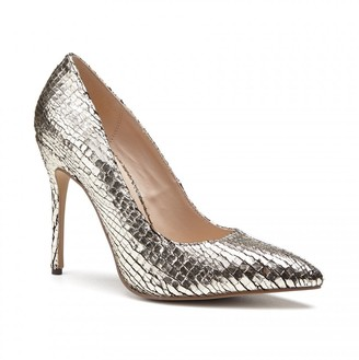 Linzi Paradox London Cairo Gold High Heel Python Print Court Shoes