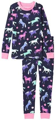 Hatley Happy Horses Organic Cotton PJ Set (Toddler/Little Kids/Big Kids) (Blue) Girl's Pajama Sets