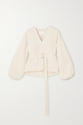 REMAIN Birger Christensen Vivian Belted Stretch Cotton-blend Blouse - Ecru