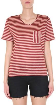 Saint Laurent Striped Monogram Pocket T-Shirt