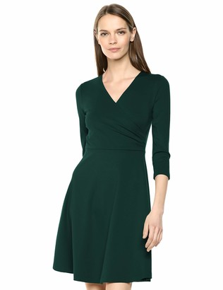 Lark & Ro Three Quarter Sleeve Faux Wrap Dress Hunter Green 8