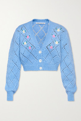Alessandra Rich Cropped Embroidered Pointelle-knit Alpaca-blend Cardigan - Light blue