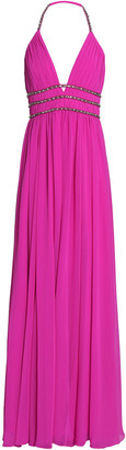 Badgley Mischka Embellished Pleated Georgette Halterneck Gown