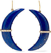 Andrea Fohrman Crescent Moon 14-karat Gold, Lapis And Diamond Earrings