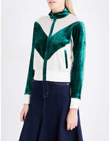 Mo&Co. Ladies Green Exposed Zip Contrast-Panel Silk-Georgette And Velour Jacket