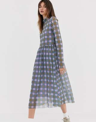 Levete Room mesh check midi dress-Purple