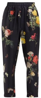 Biyan Palmarosa Botanical-print Silk Trousers - Womens - Black Print