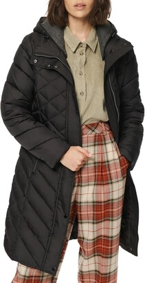 Andrew Marc Matte Jersey Lined Hooded Puffer Coat