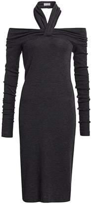Brunello Cucinelli Jersey Halter Off-The-Shoulder Wool-Blend Dress