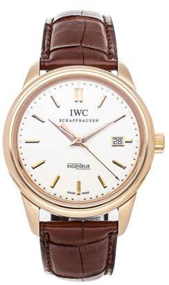 IWC Silver 18K Rose Gold and Leather Vintage Ingenieur IW3233-03 Men's Wristwatch 42.5MM