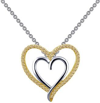 Lafonn Platinum & 18K Gold Vermeil Simulated Canary Diamond Double Heart Pendant Necklace