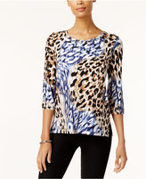 Alfred Dunner Animal-Print 3/4-Sleeve Top