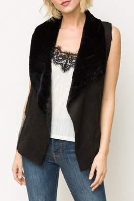 Mystree Reverse Collar Fur Vest