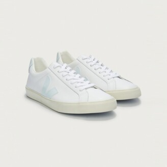 The White Company Veja Esplar Leather Trainers , Pale Blue, 37