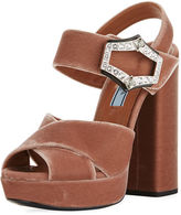 Prada Jeweled Velvet Block-Heel Sandal