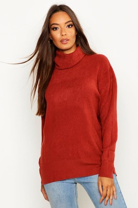 boohoo Roll Neck Knitted Oversized Jumper