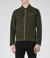 Reiss Reiss Holt - Suede Collared Jacket In Green