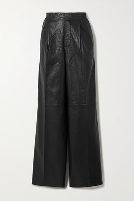 REMAIN Birger Christensen Duchesse Leather Straight-leg Pants - Black