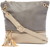 Kathy Ireland Gray Color Block Tassel Crossbody Bag