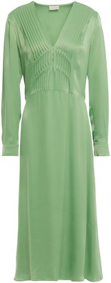 By Malene Birger Pintucked Satin-crepe Midi Dress