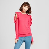 Mossimo Women's Ruffle Cold Shoulder Pullover Sweater