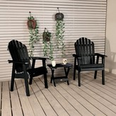 Adirondack Deerpark Plastic/Resin Chair with Table Longshore Tides Color: Black