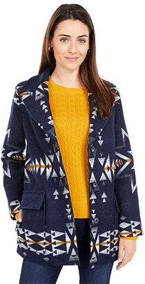 Pendleton Wahkeena Coat (Navy Plains Star Jacquard) Women's Coat