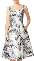 Adrianna Papell Printed Mikado Tea Length Dress, White/Multi